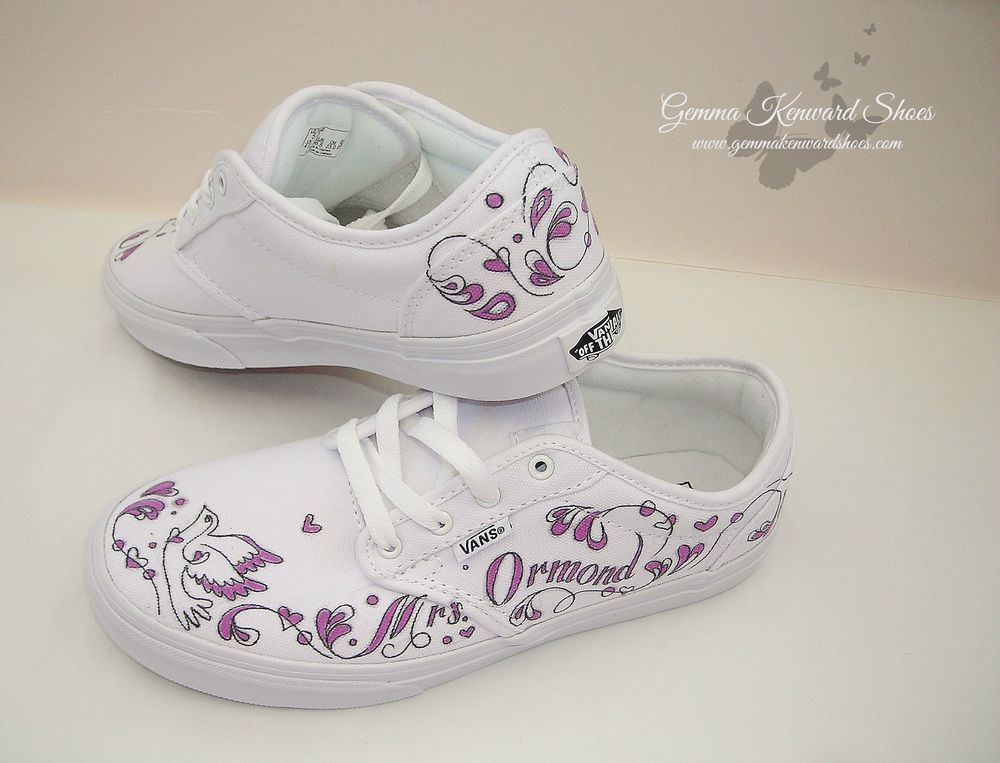Personalised White and Purple Wedding Vans