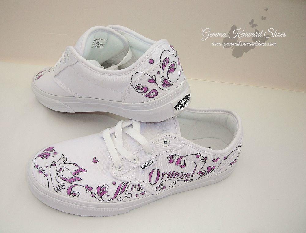 509de0754853 Personalised White and Purple Wedding Vans