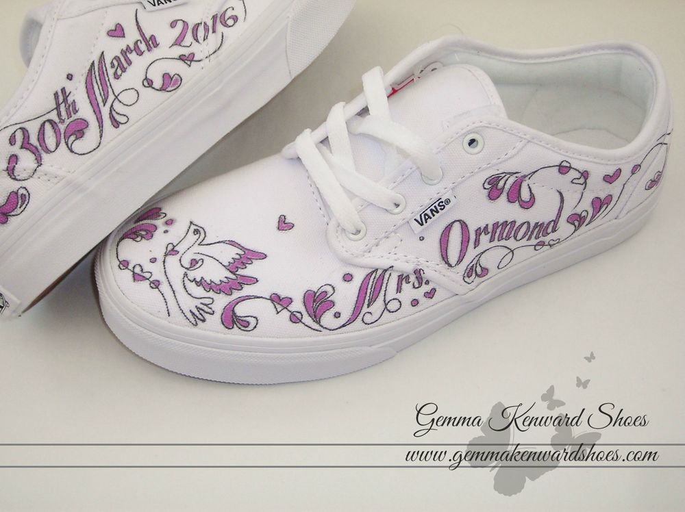 These wedding Vans were hand painted with purple writing to match the colour scheme.