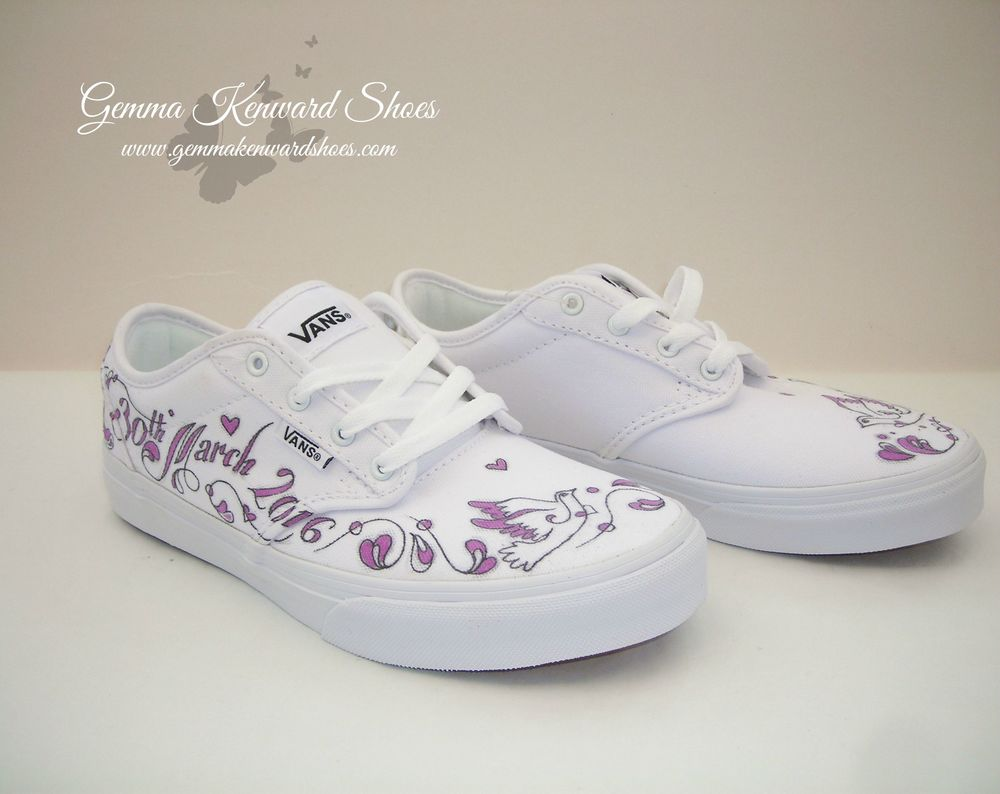 Comfy flat bridal Vans custom painted with doves and the brides name and wedding date.