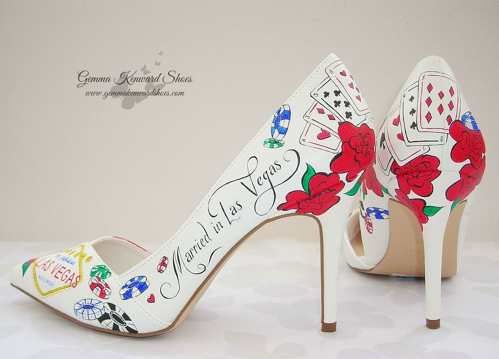 "Personalised Las Vegas theme wedding shoes with the quote - ""Married in Las Vegas""."