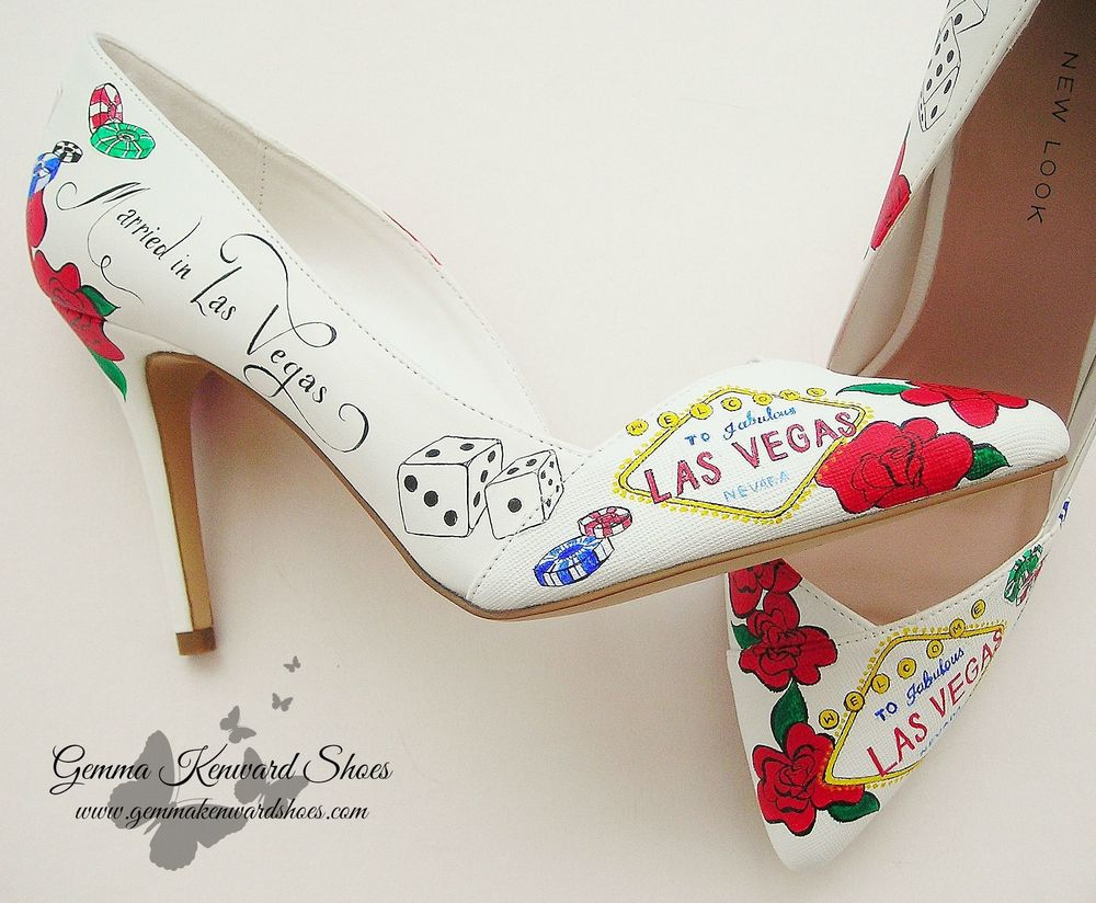 Custom Painted Wedding Shoes with a Las Vegas Theme with the Las Vegas Sign, playing cards, gambling chips and dice.