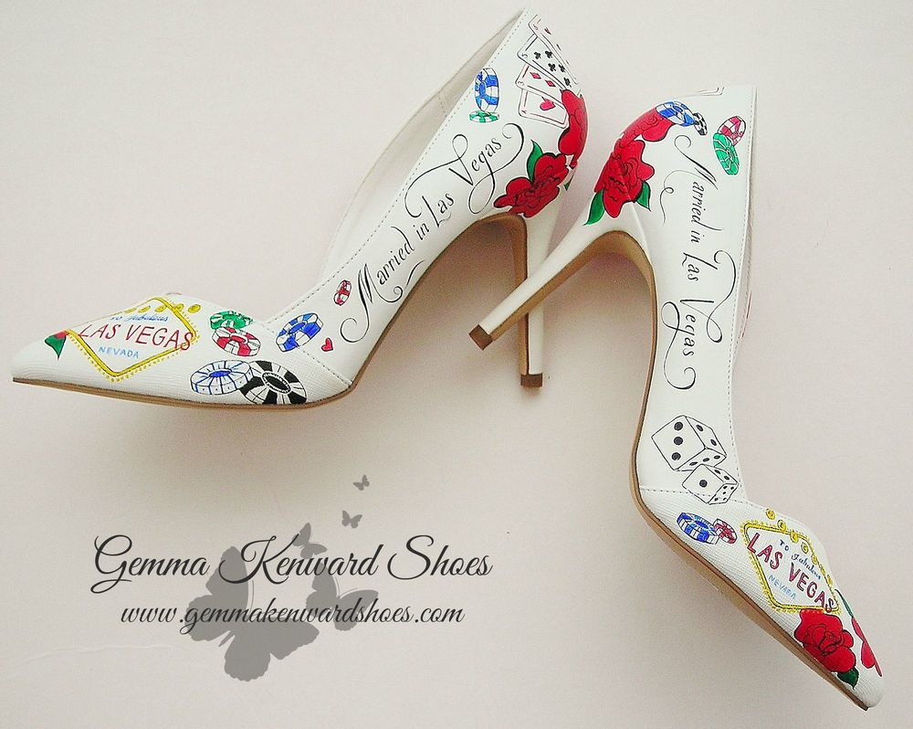 Hand painted bridal shoes with a Las Vegas wedding theme