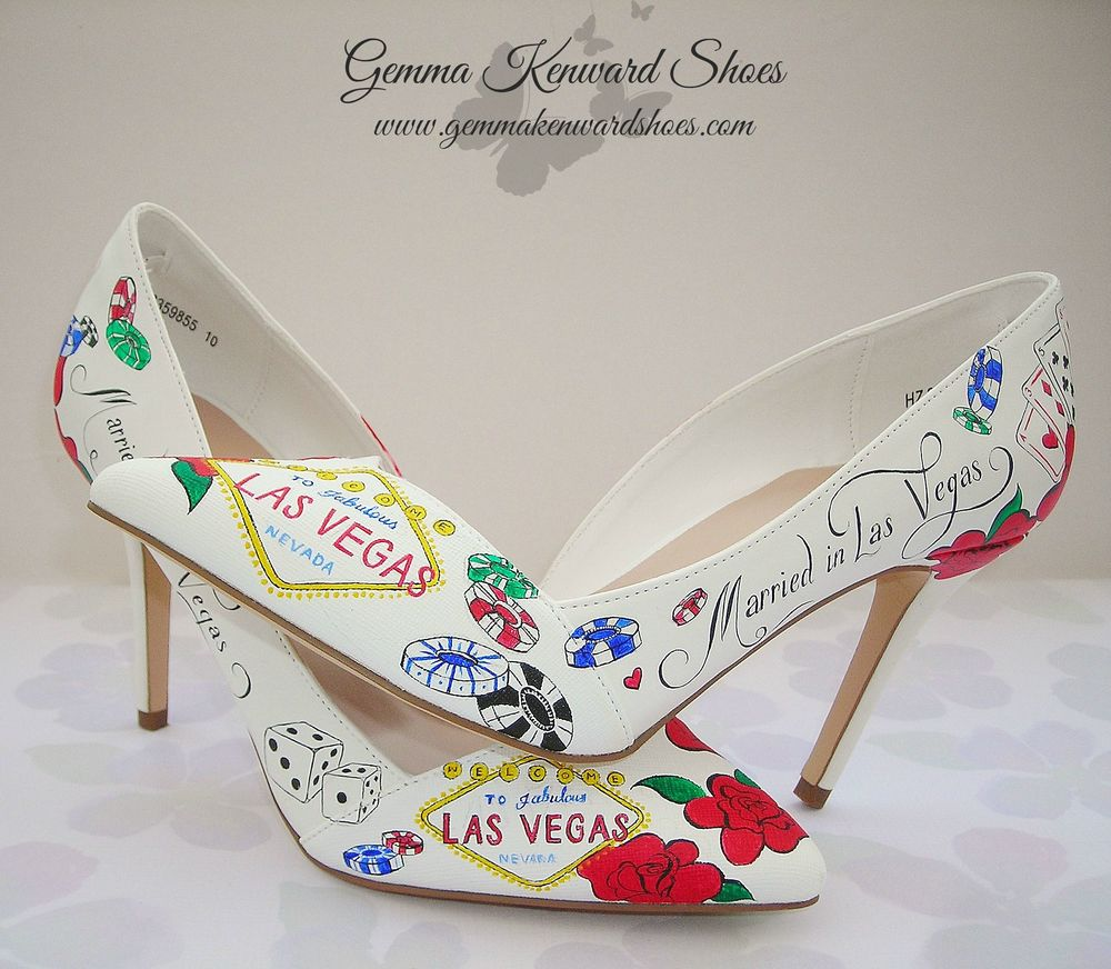 Hand painted wedding shoes with a Las Vegas wedding theme