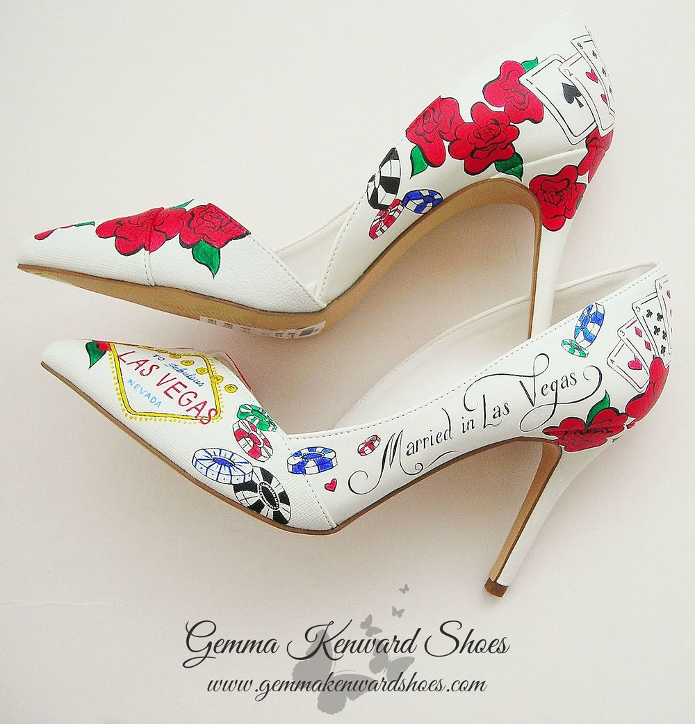 Hand Painted Las Vegas Wedding Shoes with red roses, gambling chips and the Las Vegas sign