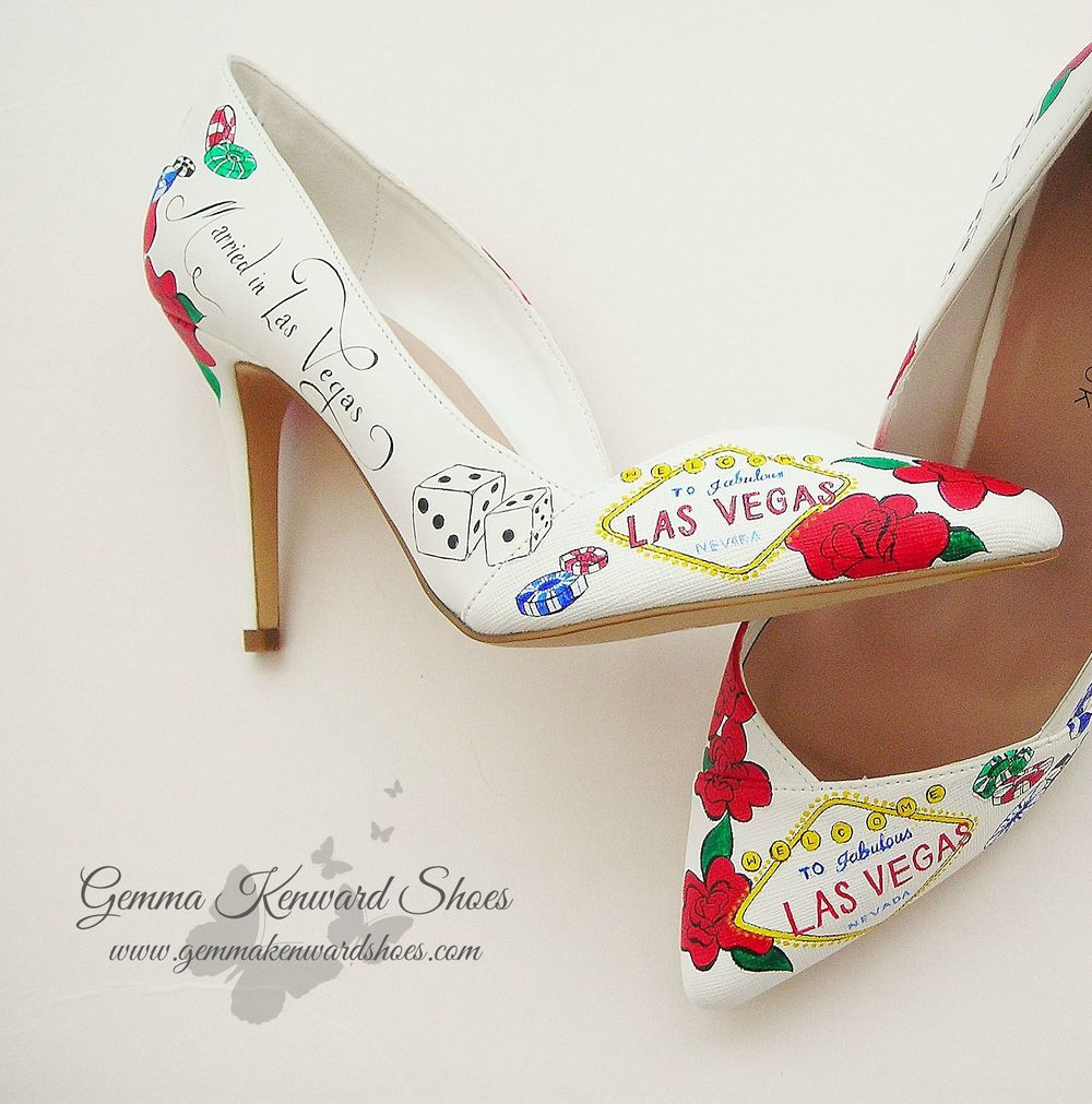 Vegas Bridal Shoes personalised with wedding dates, roses, blue, yellow, green and black gambling chips and dice