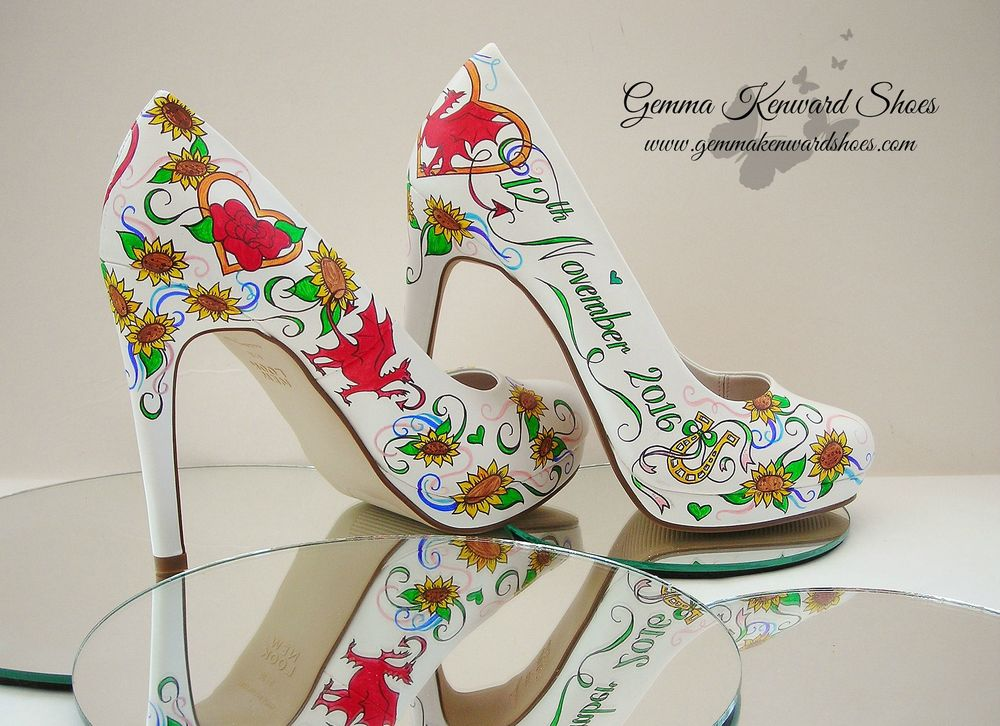 Redd Welsh Dragon Hand Painted Wedding Shoes