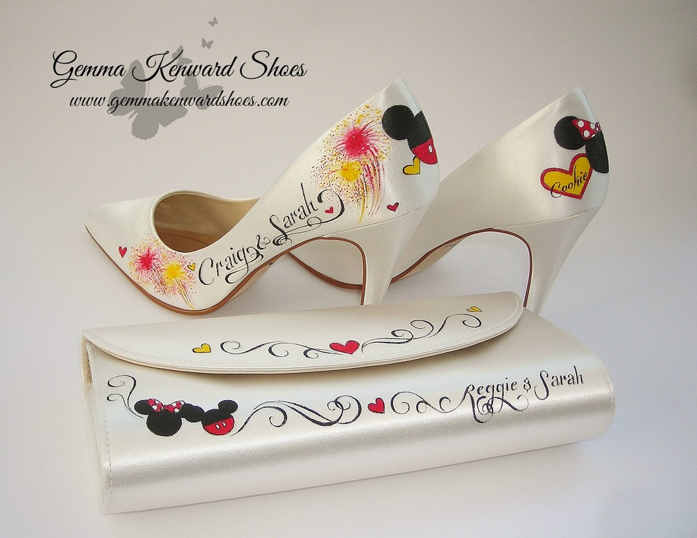 Hand Painted Mickey and Minnie Mouse Disney Bridal Shoes