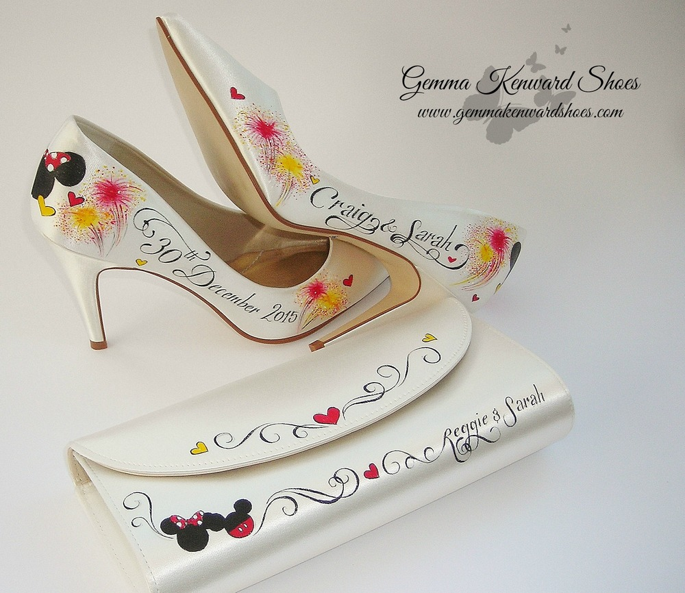 Hand Painted Brides Shoes with Fireworks and a Disney Clutch Bag