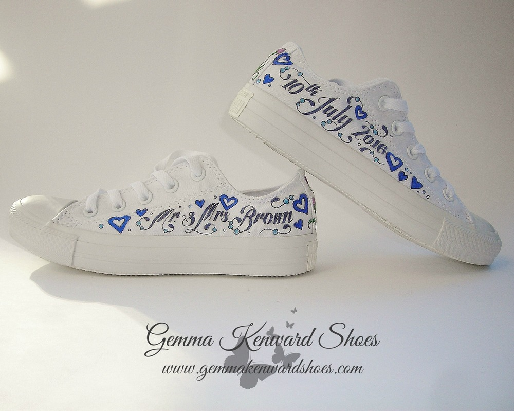 Hand painted wedding blue grey and white vans .JPG