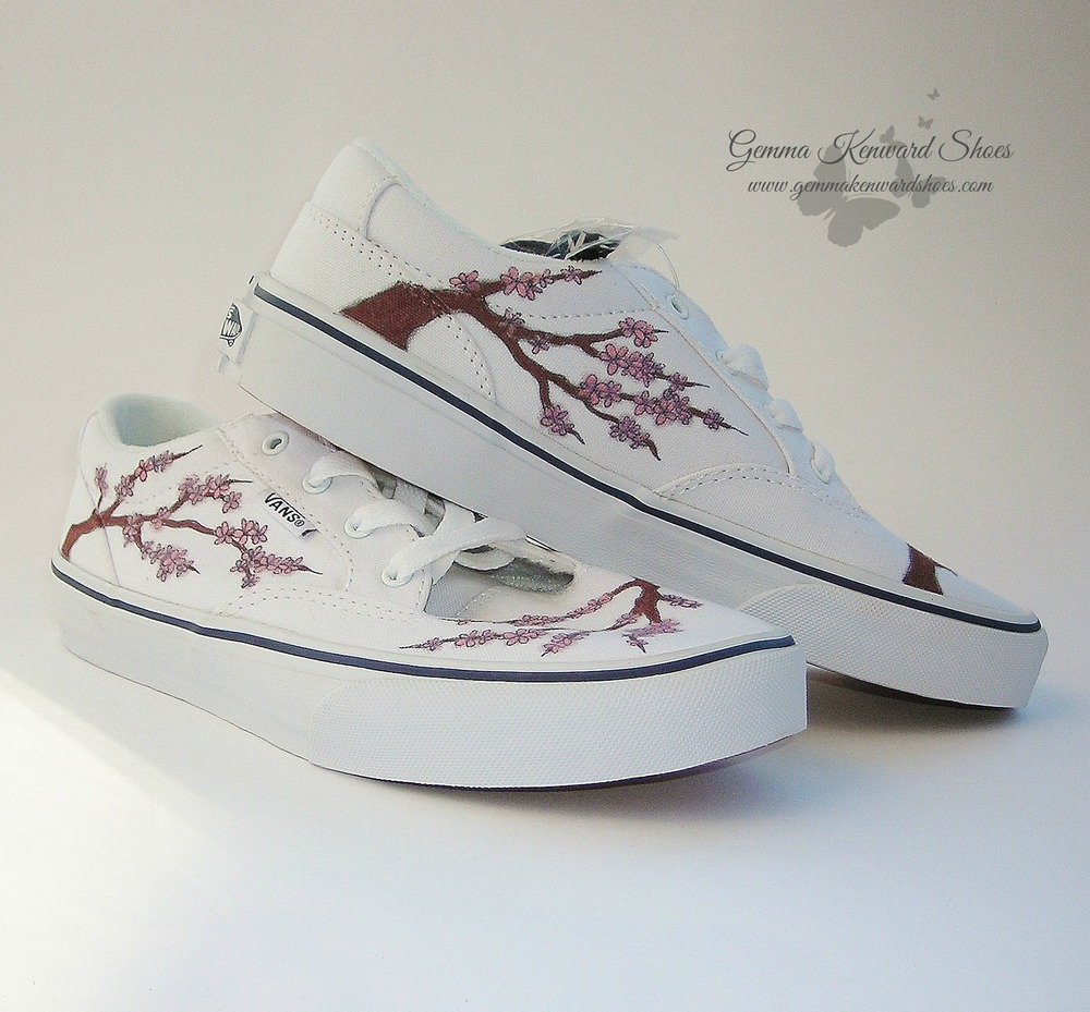 Hand Painted cherry Blossoms on a pair of Vans