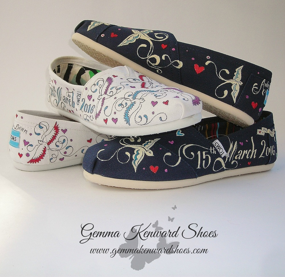 Hand painted wedding Toms with birds and hearts