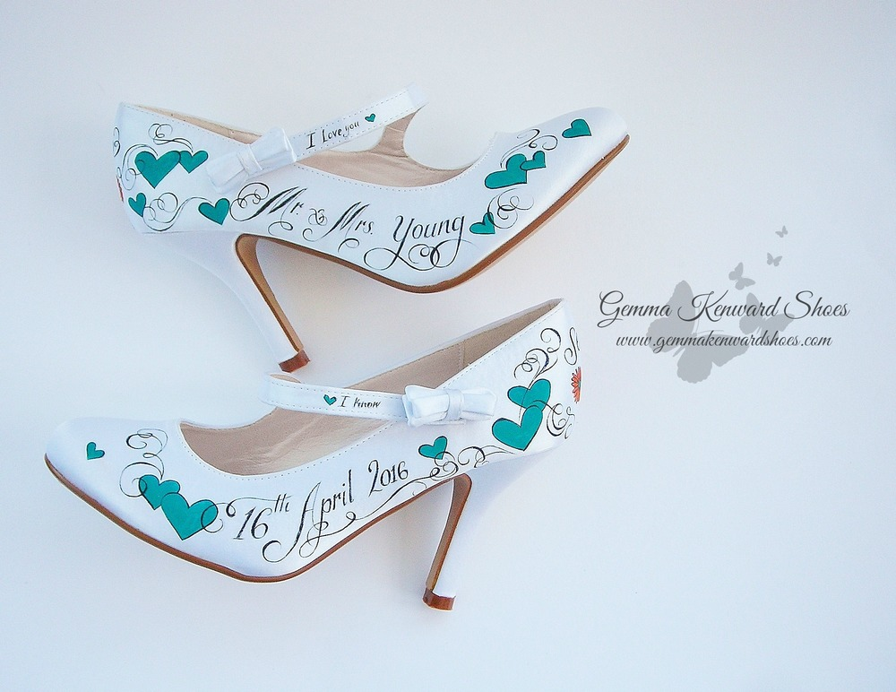 Teal hand painted brides Mary Janes