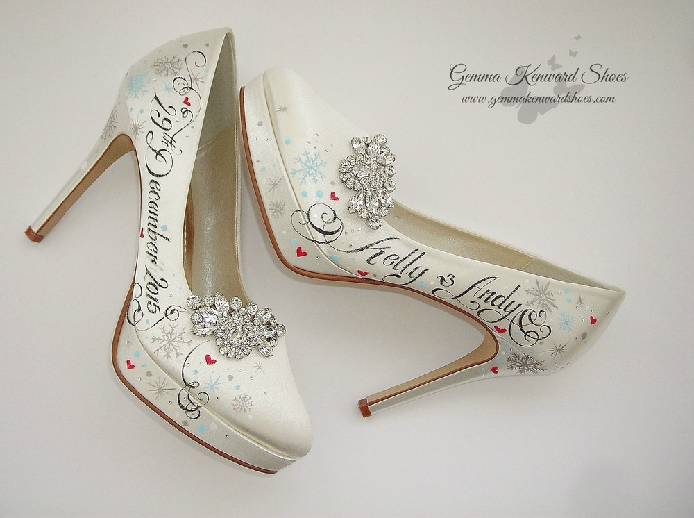 Custom painted brides shoes with a Disney Frozen ice blue theme