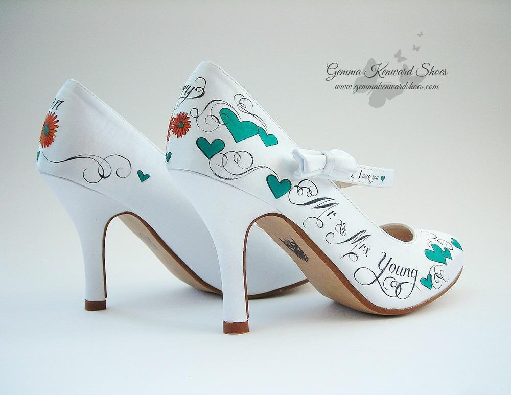 Teal Hearts And Orange Gerbera Flower Customised Wedding Sheos