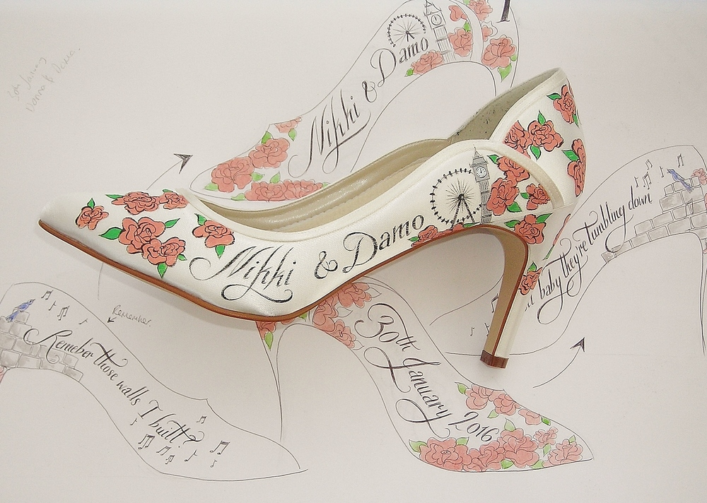 Personalized wedding shoes customized with peach / pink roses, Big Ben, the London eye and even a songbird to accompany the son lyrics from their first dance as husband and wife.