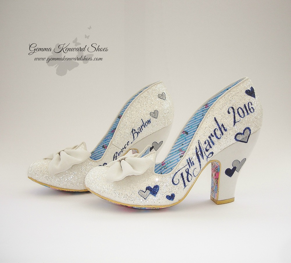 Hand Painted navy blue and silver Irregular Choice bridal shoes