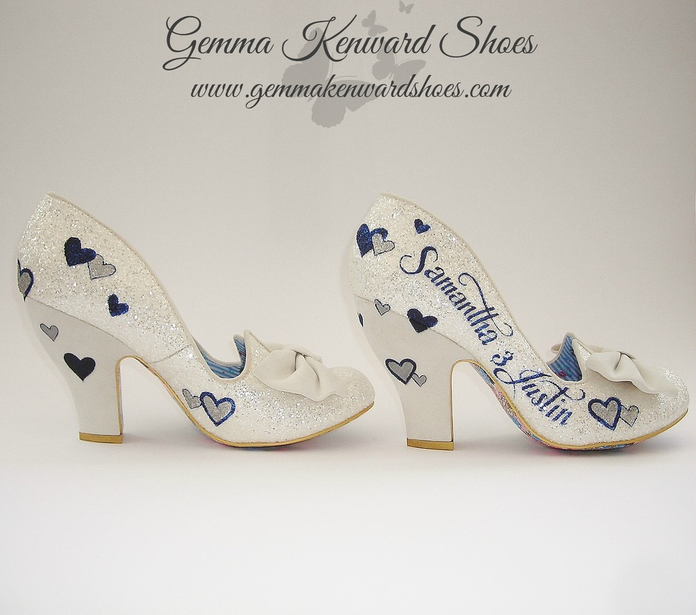 Samantha and Justins wedding shoes hand painted with hearts and lettering