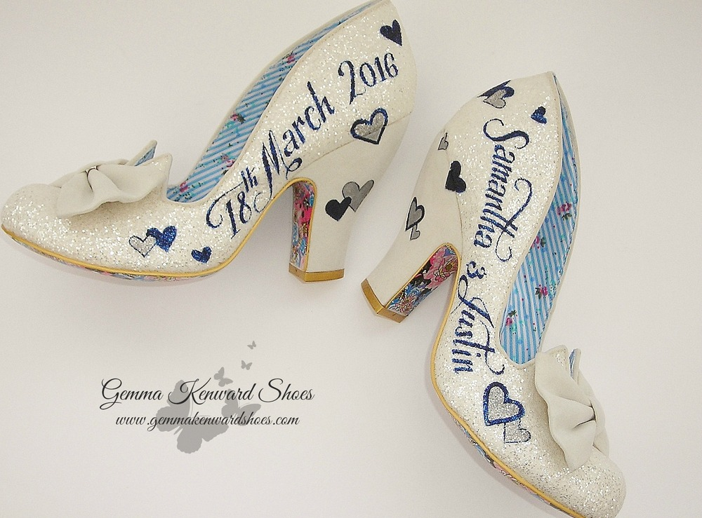 Cream Irregular Choice wedding shoes had a glitter coating and suede heels.