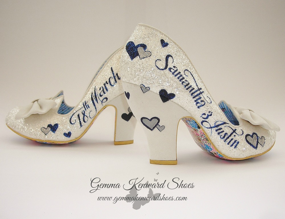 Blue and silver hearts custom painted on the pair of Irregular Choice brides shoes