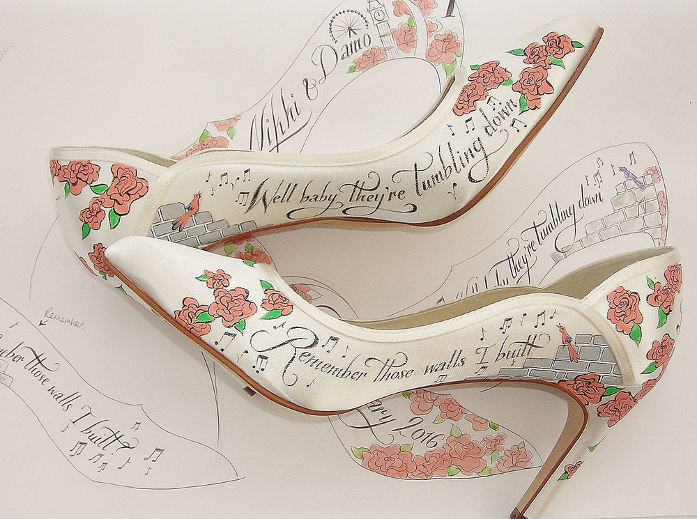 Lyrics painted on a pair of Rainbow Club wedding shoes