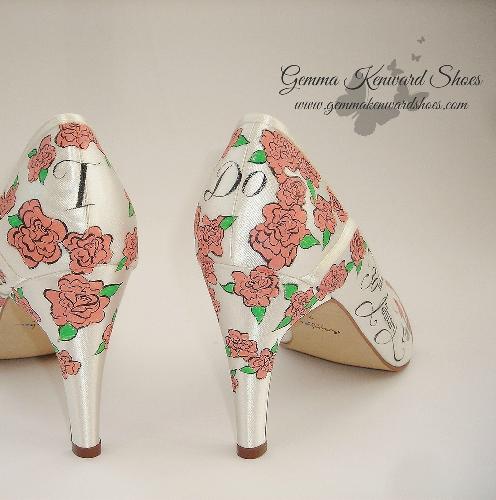 'I Do' Hand painted customised wedding shoes