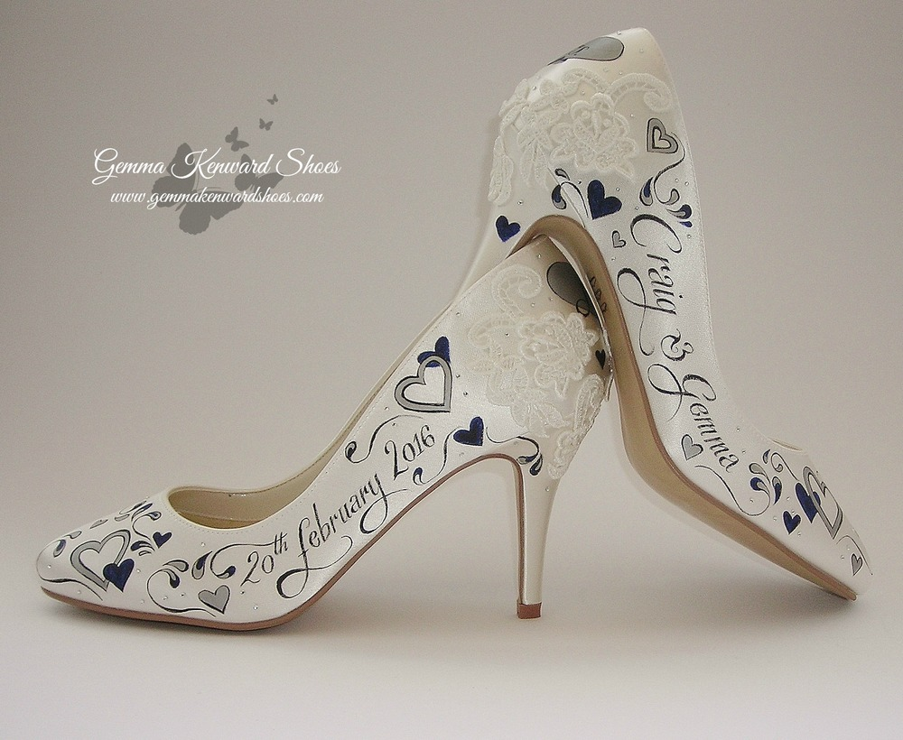 Hand Painted Wedding Shoes with silver and navy hearts