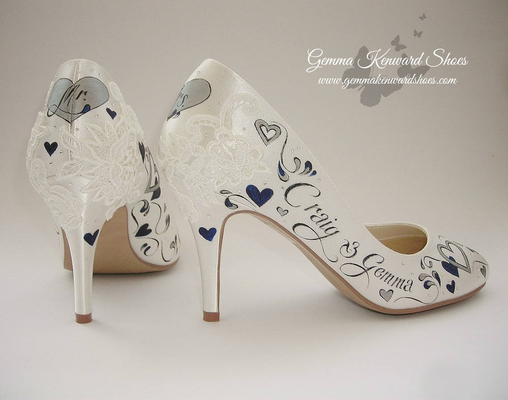 Lace bridal shoes with navy and silver hearts