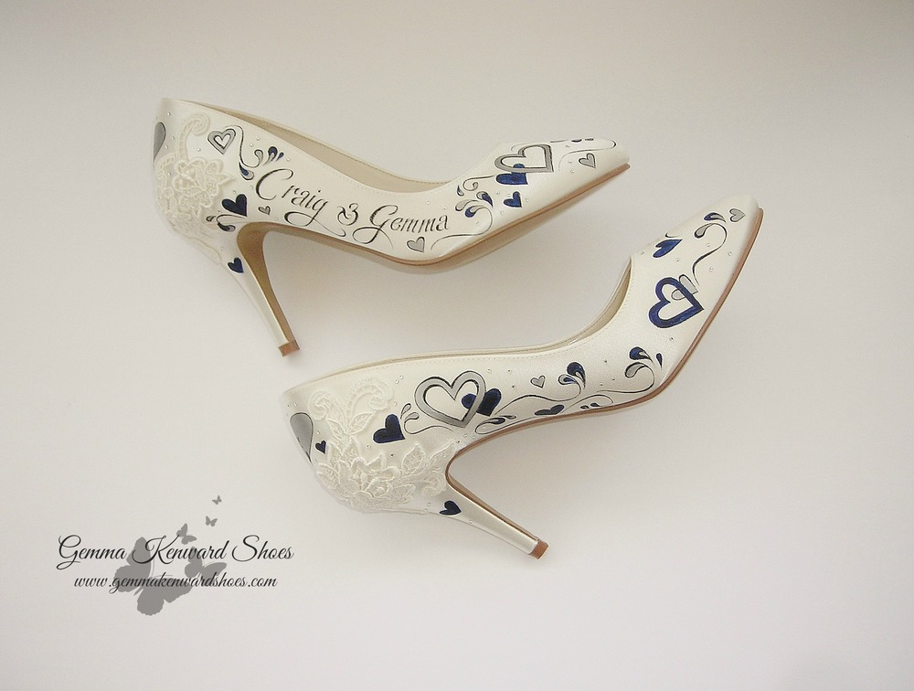 Scroll and hearts custom painted on a pair of wedding shoes