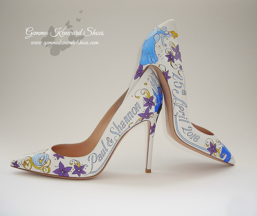 Hand painted Disney Princess wedding shoes