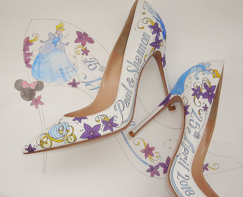 The design in the background mirrors the Disney Cinderella theme of the shoes.
