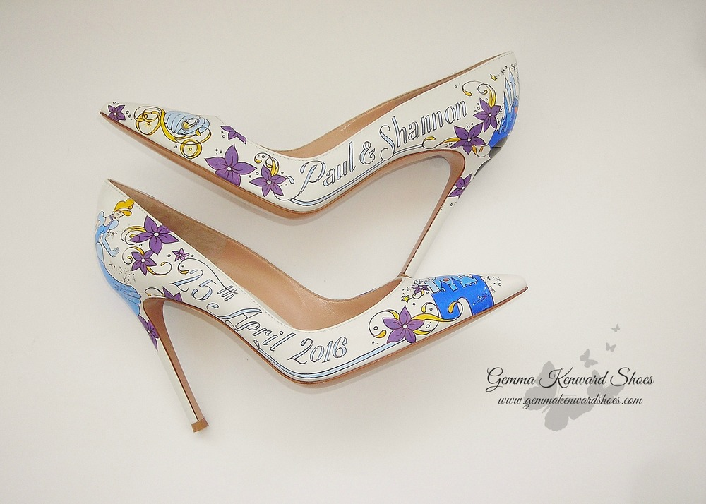 The Brides Shoes Were Brought Together With Painted Purple Flowers And  Light Blue Lettering.