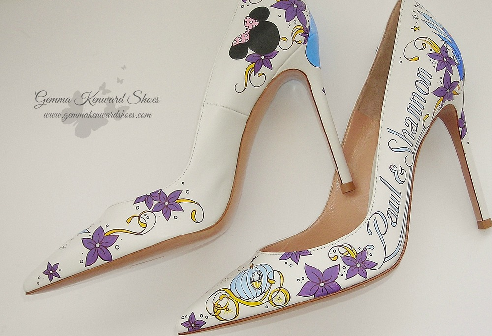 Hand painted bridal shoes with Tinkerbell, Cinderella, the Disney Castle and much much more!