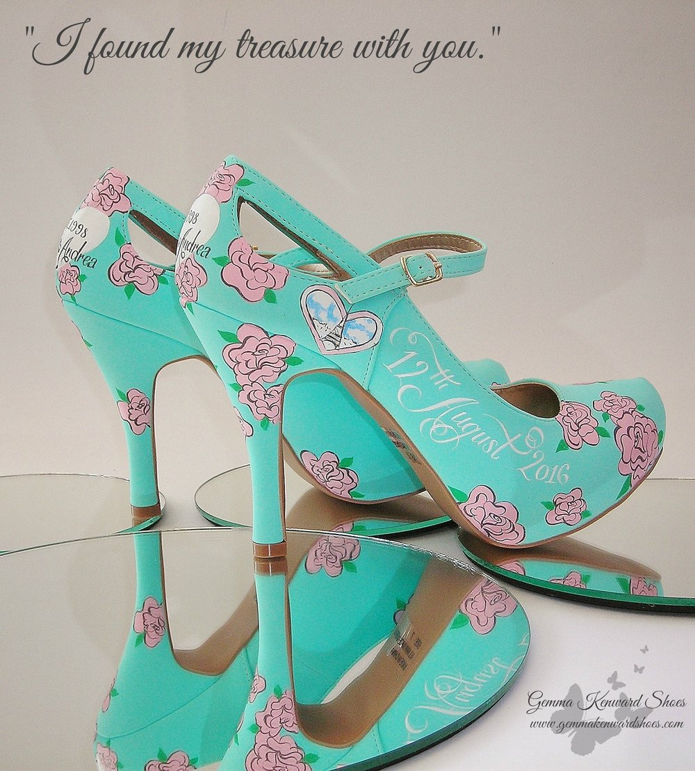 'I found my treasure in you' Wretch 32 first wedding song lyrics hand painted on a pair of blue wedding shoes