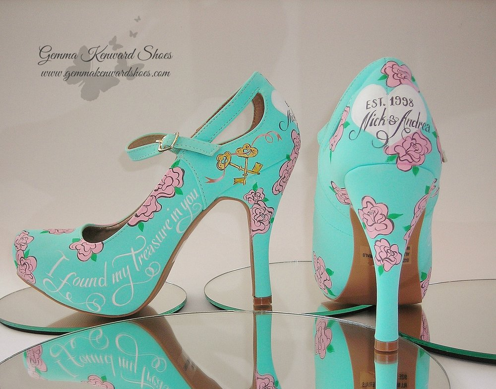 Blue wedding shoes with pink roses, keys and gold keys personlised for a bride and groom in the UK