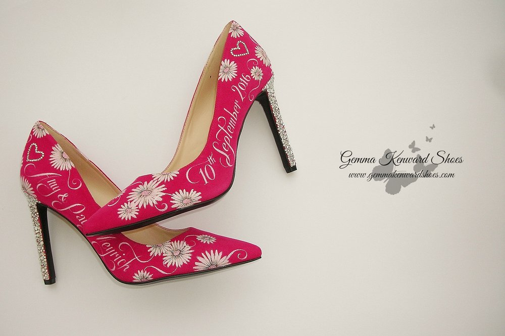 Hand painted wedding shoes with gerbera flowers and Swarovski diamante heels