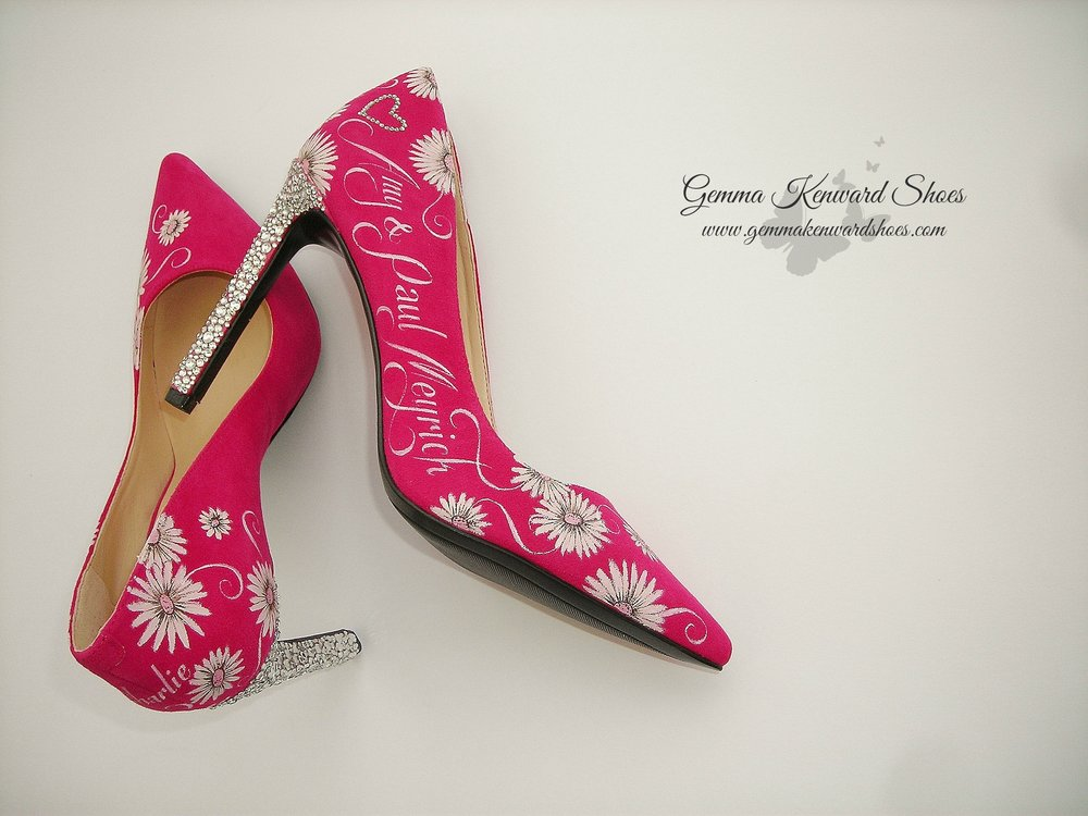 Hot pink personalised wedding shoes