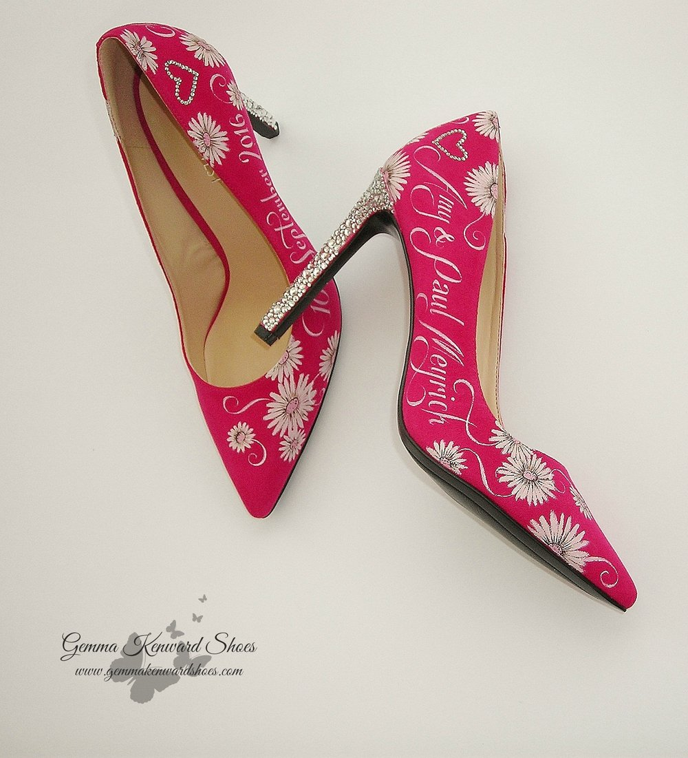 Hand painted pink wedding shoes