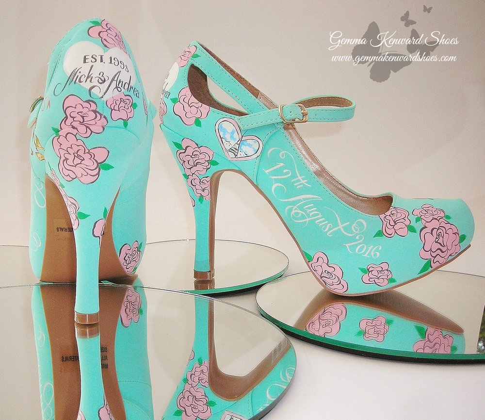Pink roses hand painted on wedding shoes .JPG