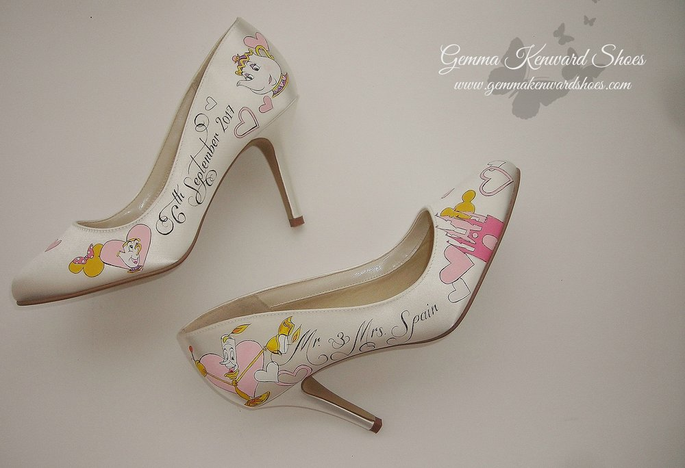 Disney themed wedding shoes with the Disney castle, Mrs. Potts, Chip and Lumiere characters