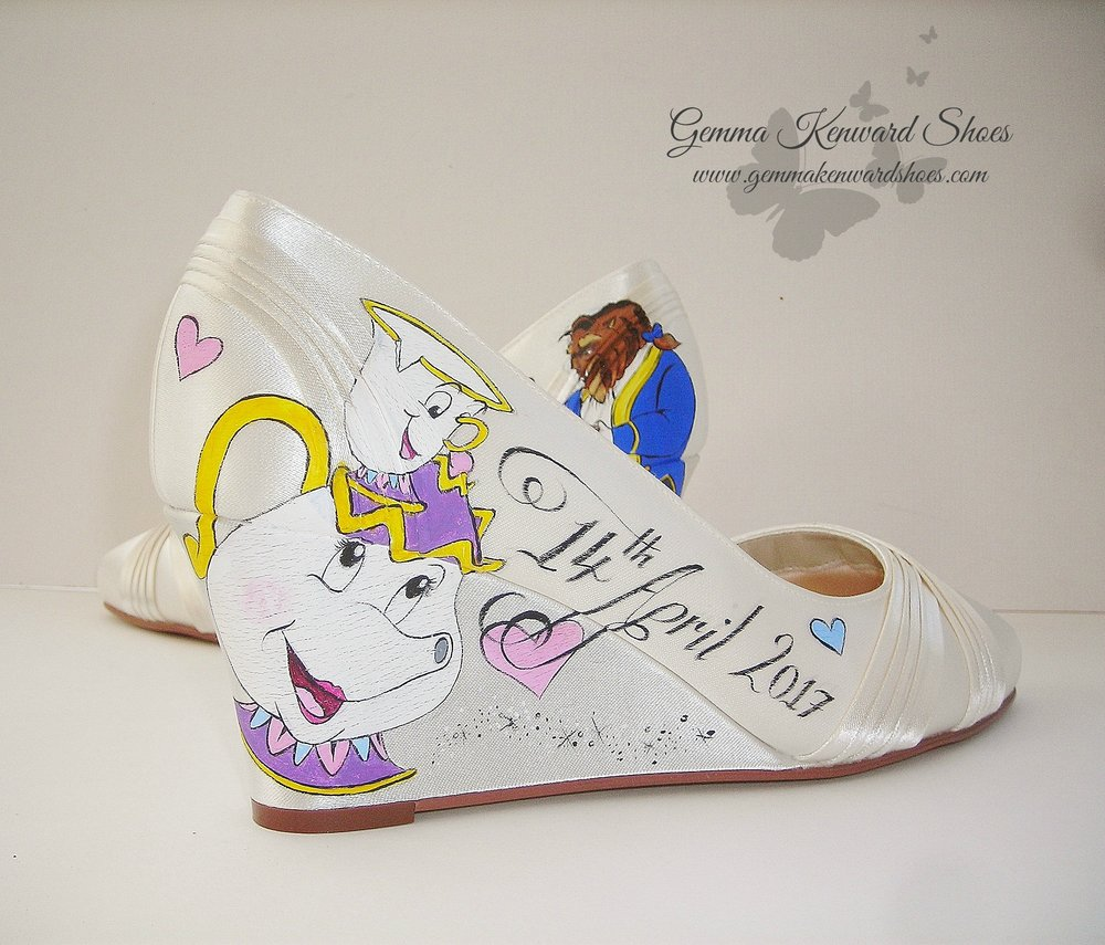 Mrs. Potts and Chip painted onto a pair of hand painted wedding shoes for a Disney theme wedding.