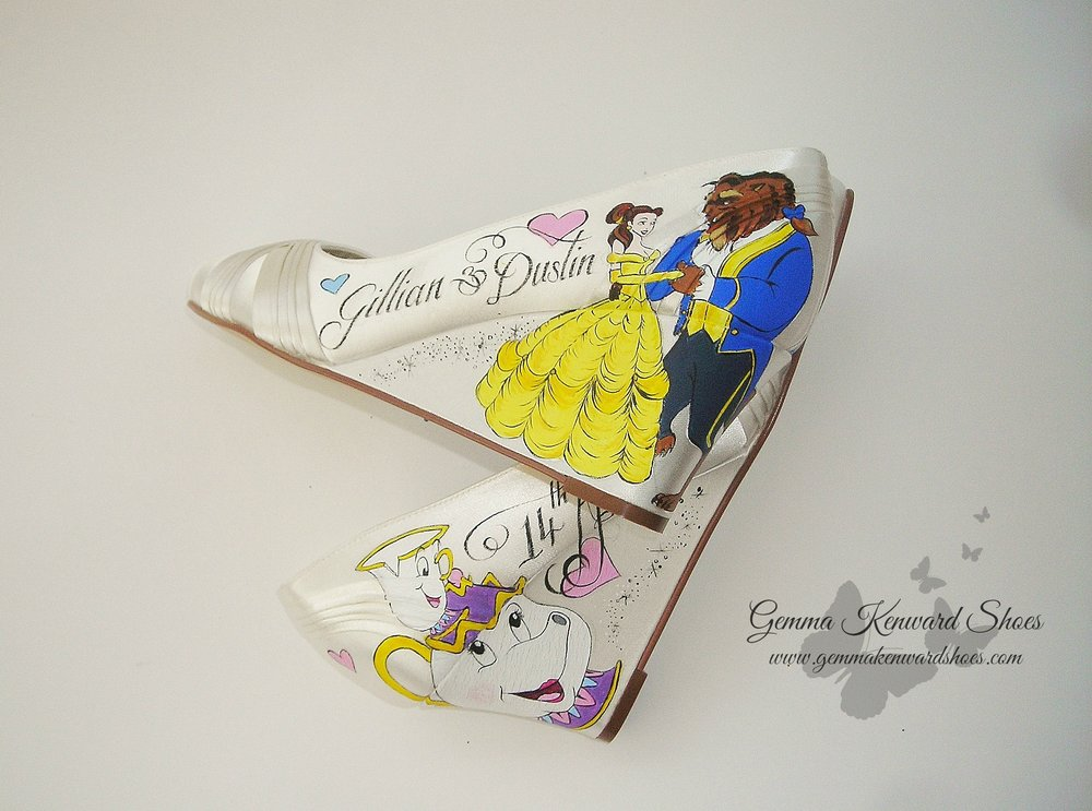 The wedge of the heel meant we could make the design a little bigger to fit on the shoes and show off Belle's dress.
