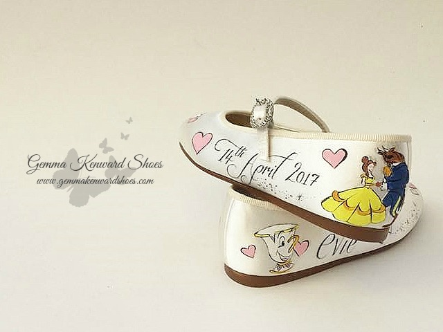 Customised wedding flower girl shoes with a Beauty and the Beast Disney theme
