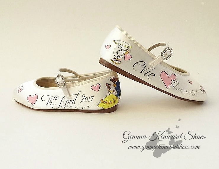 Personalised Chip and Beauty and the Beast wedding flower girl Mary Jane shoes