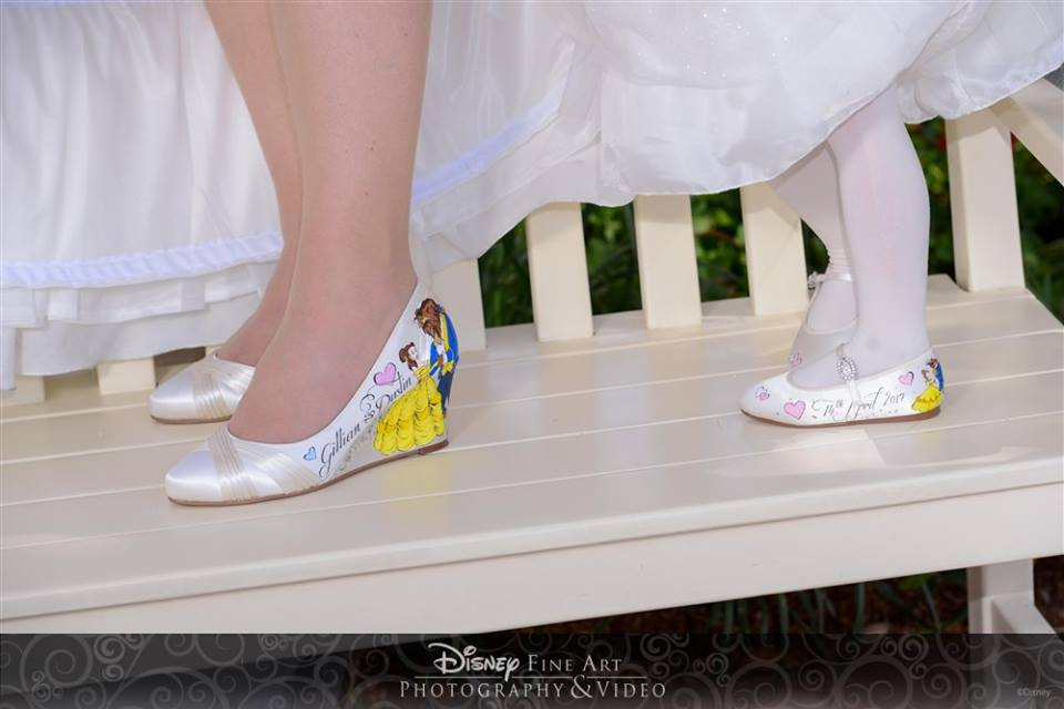 Hand painted Disney wedding shoes for a gorgeous bride and very cute flower girl