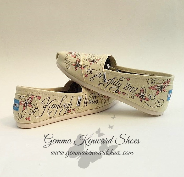 Hand painted wedding Toms with pink butterflies and hearts