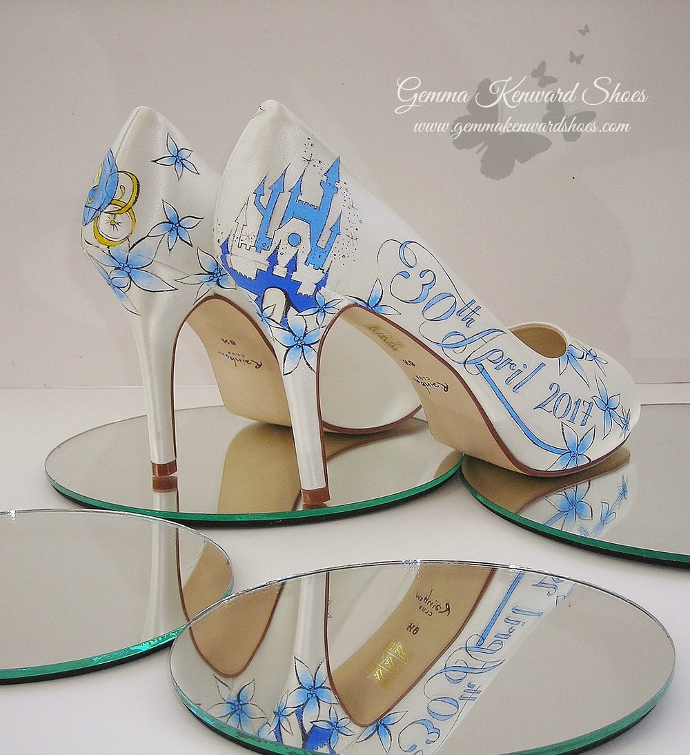 Blue disney princess painted wedding shoes