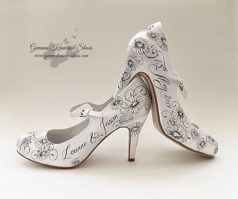 Hand painted black and white wedding shoes