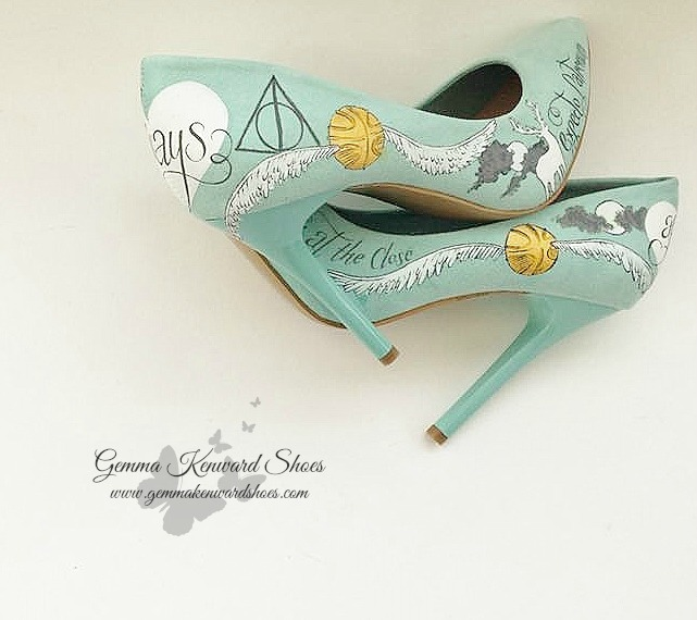 Mint green personalised wedding shoes