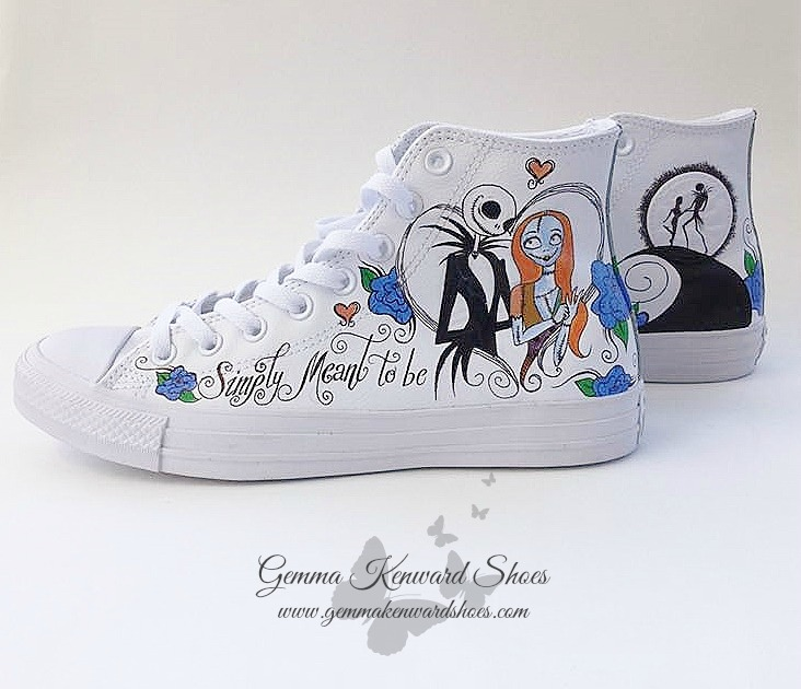 Hand Painted Nightmare Before Christmas Wedding Shoes - painted with Jack and Sally